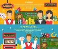 Casino et bannières de jeu réglés Illustration Libre de Droits
