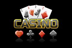 Casino et icône des textes de logo, pour le jeu d'Ui illustration de vecteur