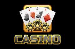 Casino et icône des textes de logo sur le fond noir, pour le jeu d'Ui illustration libre de droits