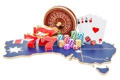 Casino et industrie de jeu dans le concept d'Australie, 3D illustration stock
