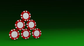 Casino fiches. Some fiches on a green table (3d render Royalty Free Stock Photo