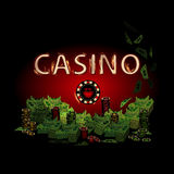 Casino fire letters on a dark background chip. Simple fashion symbol for web site design or a button for mobile applications. Logo Illustrations Royalty Free Stock Photography