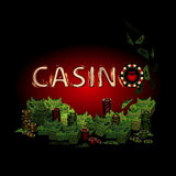 Casino fire letters of a lot  money. Casino fire letters on a dark background of a lot of money. Simple fashion symbol for web site design or a button for Royalty Free Stock Image