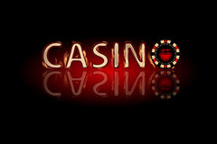 Casino fire text. chip on a dark background. Simple fashion symbol for web site design or a button for mobile applications. Logo Illustrations Royalty Free Stock Photos
