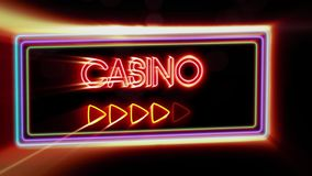 Casino - Flashing vibrant colorful neon board background stock footage