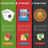 Casino  Flat Banners Set Royalty Free Stock Images