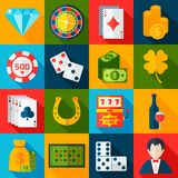 Casino Flat Icons Royalty Free Stock Images