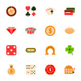 Casino flat icons set Royalty Free Stock Photos