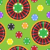 Casino fortune wheel roulette gambling game chips seamless pattern background vector illustration f. Or print textile paper. Gaming jackpot lucky entertainment Royalty Free Stock Photography