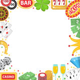 Casino frame with space for text. Gambling  on a white background. Poker, card games, one-armed bandit, roulette Stock Photography