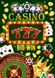 Casino gamble games, jackpot win golden coins. Casino wheel of fortune, poker cards and lucky seven jackpot win. Vector gamble game roulette, dice and poker stock illustration