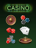 Casino gambling attributes. Vector set of casino gambling attributes poker roulette wheel, blue, black chips, red dice, royal straight flush and neon signboard Royalty Free Stock Photography