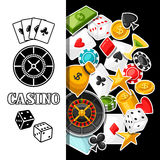 Casino gambling background design with game sticker objects Royalty Free Stock Images