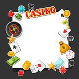 Casino gambling background design with game sticker objects Stock Image