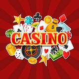 Casino gambling background design with game sticker objects Royalty Free Stock Photos