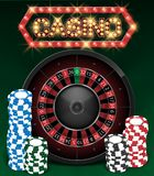 Casino Gambling background design with realistic Roulette Wheel and Casino Chips. Roulette table isolated on green vector illustration