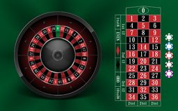 Casino Gambling background design with realistic Roulette Wheel and Casino Chips. Roulette table isolated on green. Background. Vector illustration EPS 10 royalty free illustration