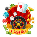 Casino gambling background or flyer with game objects Royalty Free Stock Images