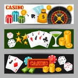 Casino gambling banners or flyers with game objects Stock Photos