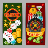 Casino gambling banners or flyers with game objects Royalty Free Stock Photo