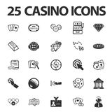Casino, gambling 25 black simple icons set for web. Design Royalty Free Stock Image