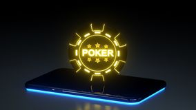 Casino Gambling Chip Concept and Smart Phone With Glowing Neon Lights Isolated On The Black Background - 3D Illustration vector illustration