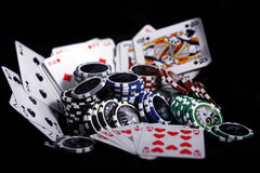 Casino gambling chips. On white background royalty free stock photography