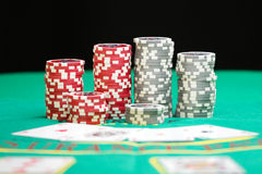 Casino gambling chips. Blackjack in a casino color gambling chips Stock Images