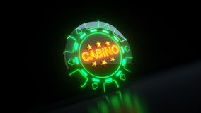 Casino Gambling Chips in Clubs Symbol Concept With Neon Lights - 3D Illustration stock photos