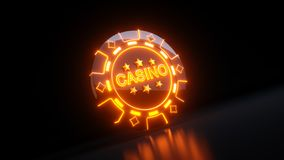 Casino Gambling Chips in Diamondss Symbol Concept With Neon Lights - 3D Illustration royalty free stock photo