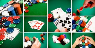 Casino gambling concept. A collage of casino and gambling items, cards, chips, entertainment concept royalty free stock images
