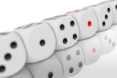 Casino Gambling Concept. Row of White Game Dice Cubes. 3d Rendering stock illustration