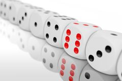 Casino Gambling Concept. Row of White Game Dice Cubes. 3d Rendering. Casino Gambling Concept. Row of White Game Dice Cubes on a white background. 3d Rendering royalty free stock photo