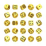 Casino Gambling Concept. Set of Golden Game Dice Cubes in Differetn Position. 3d Rendering stock images