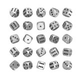 Casino Gambling Concept. Set of Silver Game Dice Cubes in Differetn Position. 3d Rendering. Casino Gambling Concept. Set of Silver Game Dice Cubes in Differetn stock image