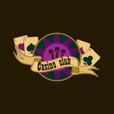 Casino and gambling emblem. Casino and gambling badges or emblems each with aces playing cards, casino chips or tokens and lucky number 777 vector illustration
