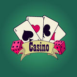 Casino and gambling emblem. Casino and gambling badges or emblems each with word Casino decorated with a hand of aces playing cards, dice royalty free illustration