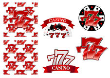 Casino and gambling emblems or badges. Colorful red casino and gambling emblems or badges depicting the iconic lucky numbers 777 as seamless patterns, with Stock Image