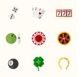 Casino and Gambling Flat Icons Royalty Free Stock Image