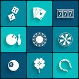 Casino and Gambling Flat Icons Royalty Free Stock Photo