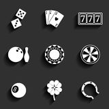 Casino and Gambling Flat Icons Stock Photography