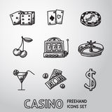 Casino, gambling freehand icons set. vector Stock Photography