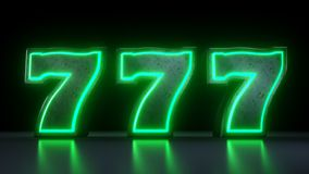777 Casino Jackpot Symbol With Neon Green Lights Isolated On the Black Background - 3D Illustration vector illustration
