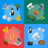 Casino and Gambling Game Banner Card Set Isometric View. Vector vector illustration