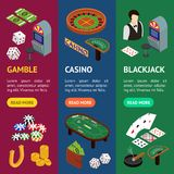 Casino and Gambling Game Banner Vecrtical Set Isometric View. Vector stock illustration