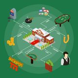 Casino and Gambling Game Concept Isometric View. Vector stock illustration