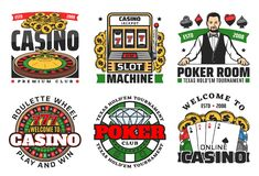 Casino gambling games. Roulette, poker cards, dice royalty free illustration
