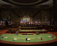Casino, Gambling Hall, Blackjack Illustration. Illustration of a casino or gambling hall. A blackjack table is in the foreground royalty free stock photography