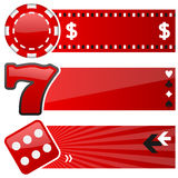Casino & Gambling Horizontal Banners. A collection of three casino and gambling horizontal banners with a poker chip, a fruit machine symbol and a dice icon on stock illustration