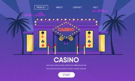 Casino Gambling House Gold Neon Lights Exterior royalty free illustration